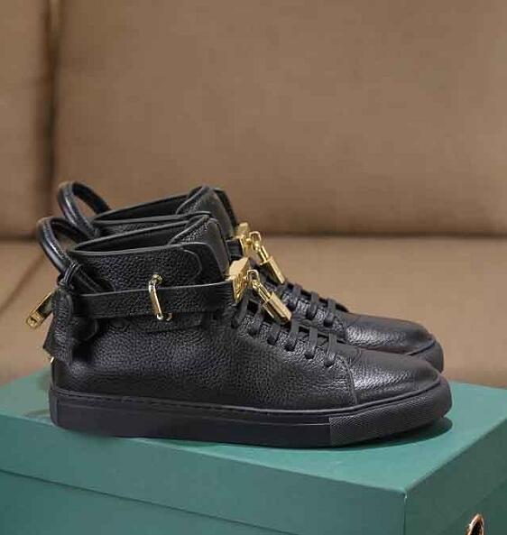 hommes en cuir véritable Flats hommes haut-top chaussures de sport créateurs de mode serrure métallique marque chaussures printemps / automne chaud vente