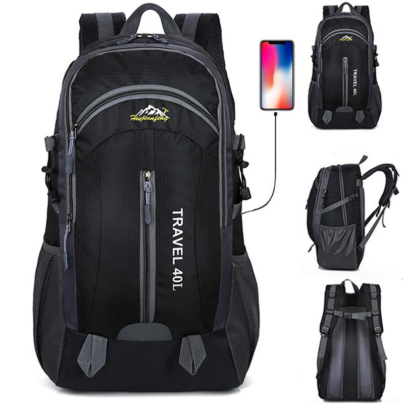 New Men Backpack USB Charging 40L Large Capacity Out Door For Male Bag Waterproof Casual Backpacks Unisex Black Travel Backpacks SH190918