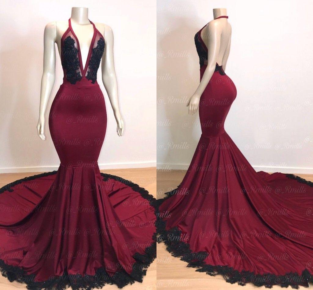 2019 새로운 섹시한 깊은 V 목 고삐 부르고뉴 인어 댄스 파티 드레스 민소매 백리스 블랙 아플리케 이브닝 드레스 스윕 기차 파티 가운