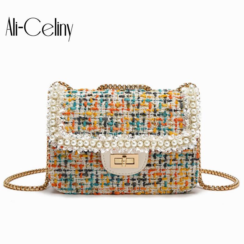 Мини-сумка женская 2019 Корейский моды шерстяной ткани плеча сумку Joker цепи перлы небольшой площади