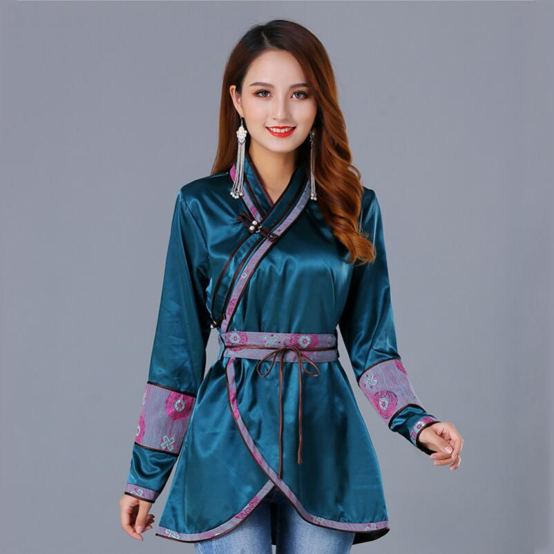 New Top quality Luxurious Women's asia mongollian costume Elegant national style apparel silk traditional ethnic clothing