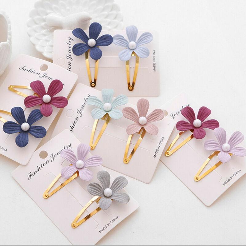 Nettes Kleinkind-Baby-Kind-Mädchen-Perlen-Blumen-Haarnadel Haarspange Zubehör Reise Hochzeit Kopfbedeckung 2ST / Sets