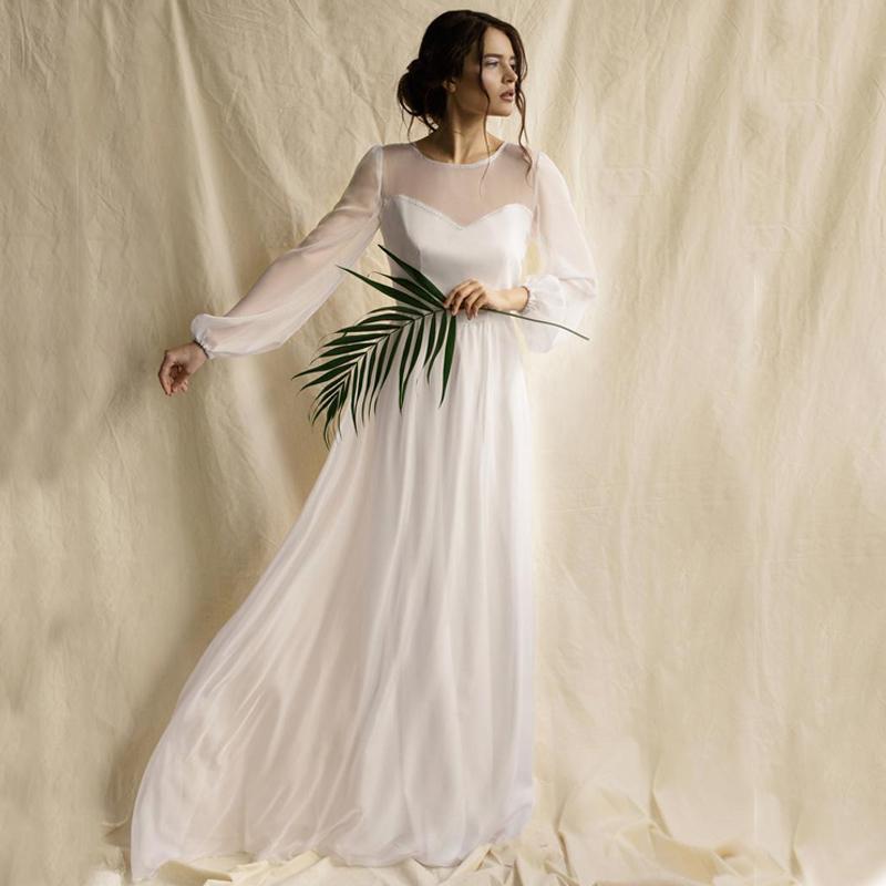 2020 Country Style vestido de novia barato largo simple gasa partida de Boho Bohemia Beach Obispo vestido de novia de manga