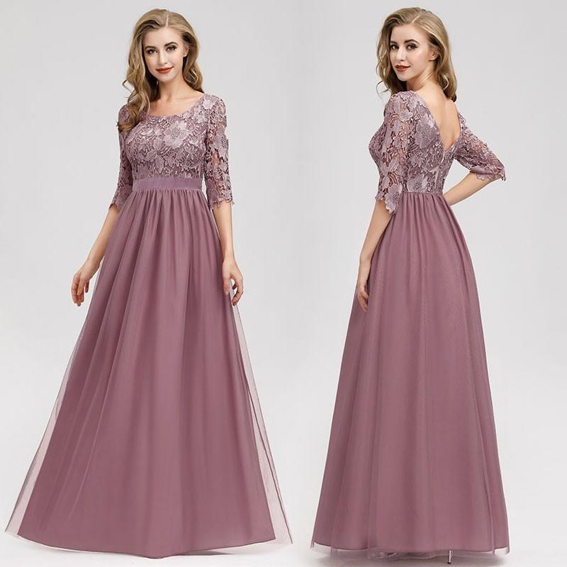 Lace Evening Dresses Long Ever Pretty O-neck A-line Half Sleeve Sexy Appliques Elegant Women Evening Gowns Robe De Soiree 2019 Y19072901