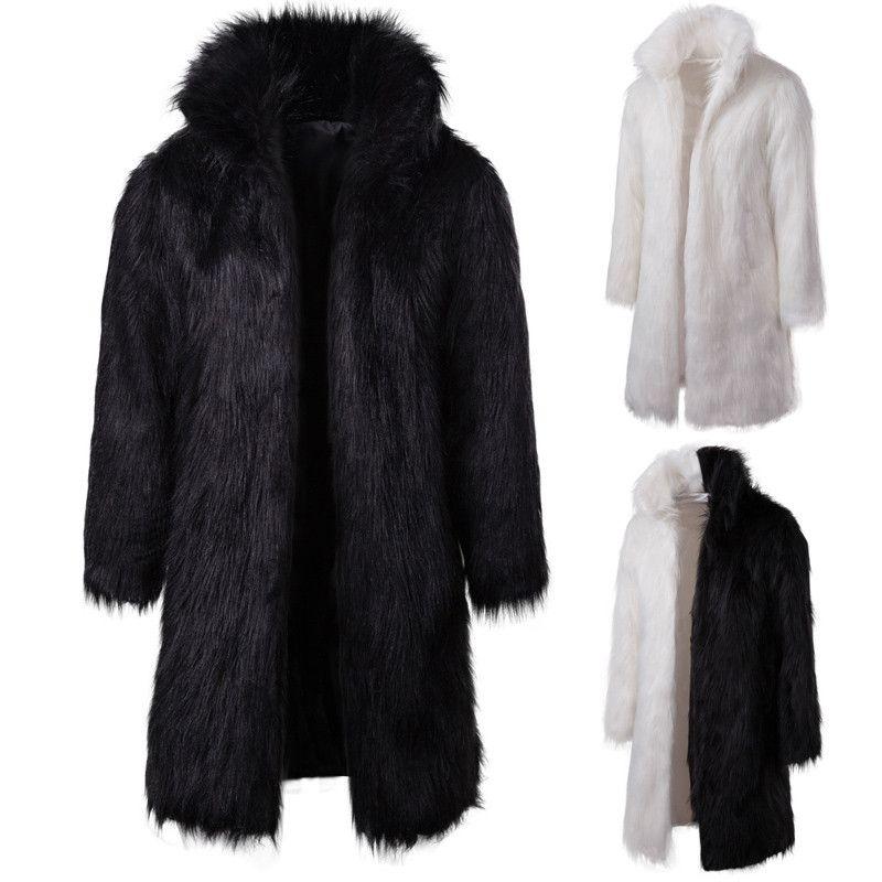 Mens d'hiver épais chauds chauds manteaux fausse fourrure à capuche à capuche à capuche à capuche pleine manches perdus patchwork masculin