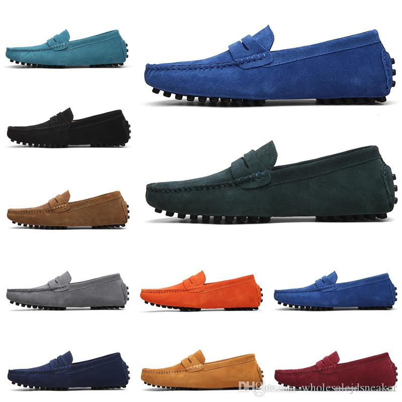 Cheap Non-Brand Designer Loafers Shoes Slip-on men Casual Chaussures mens dress sneakers vintage Triple Black Green 38-47 Style 9