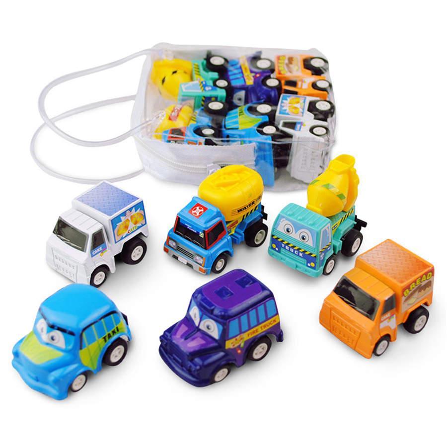 6-قطعة شاحنة صغيرة اللعب وسباقات مجموعة لعبة سيارة ميني لعبة التراجع التعليمية لعبة طفل هدايا