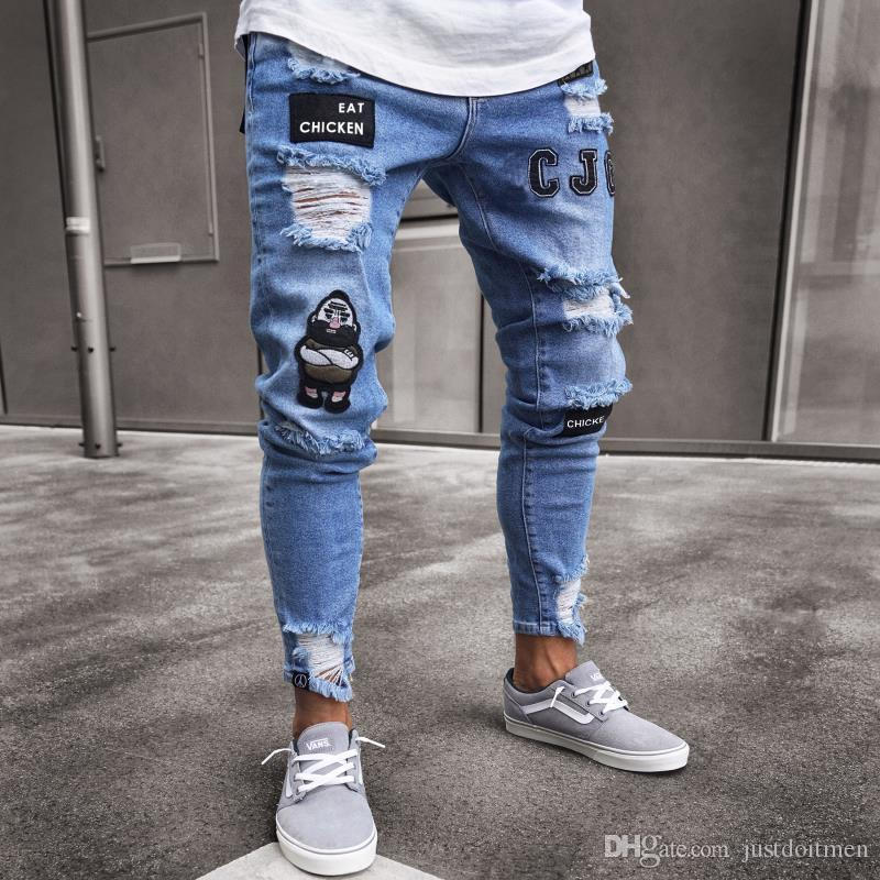Fashion Mens Skinny Jeans Rip Slim fit Stretch Denim Distress Frayed Biker Jeans Boys Embroidered Patterns Pencil Trousers
