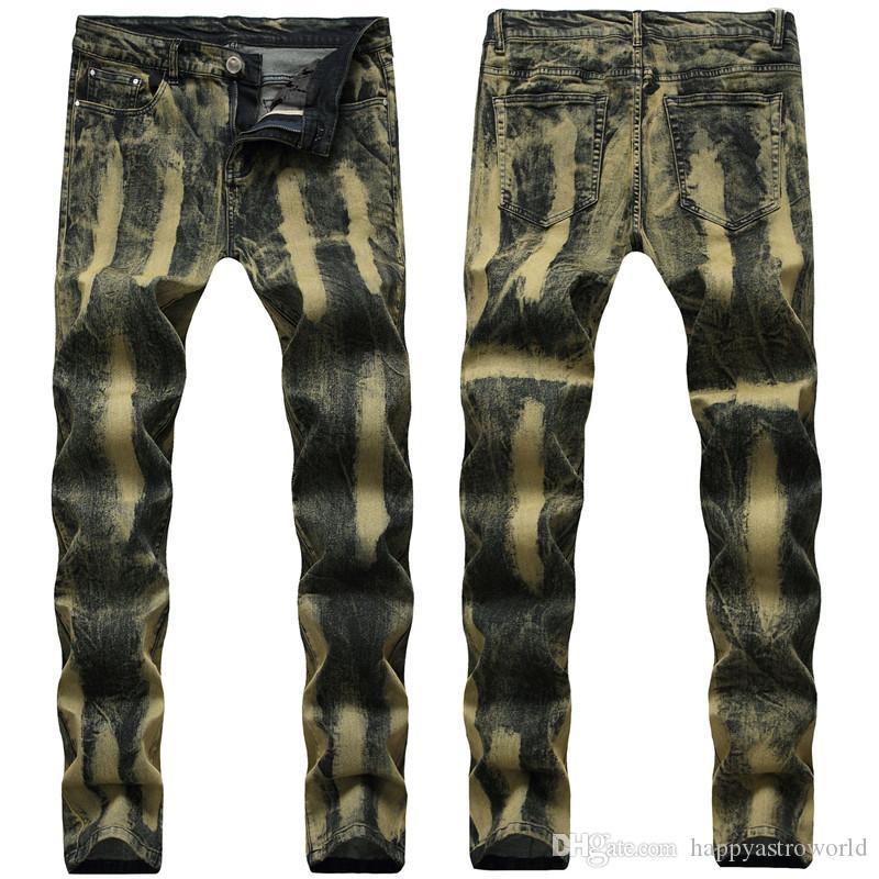 Мужские джинсы Мода Роскошная Slim Fit Jean штаны эластичный пояс Wear Жан Pantaones