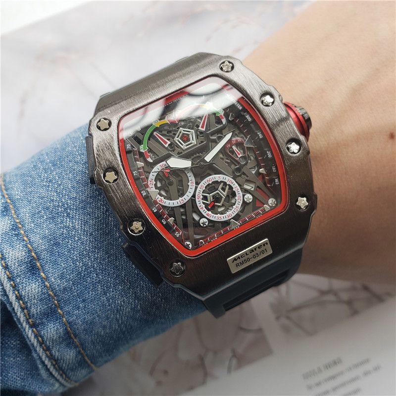 Relógio de luxo dos homens da marca top 44mm moda personalidade barril esqueleto relógio de quartzo cronômetro big bang monterey hommes orologio