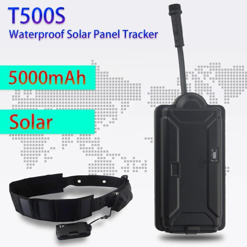 Animal Cão T500S Solar Painel GPRS GSM GPS Tracker Para Big Pet Waterproof 5000mAh Big Battery Geo-fence Sensor de Movimento