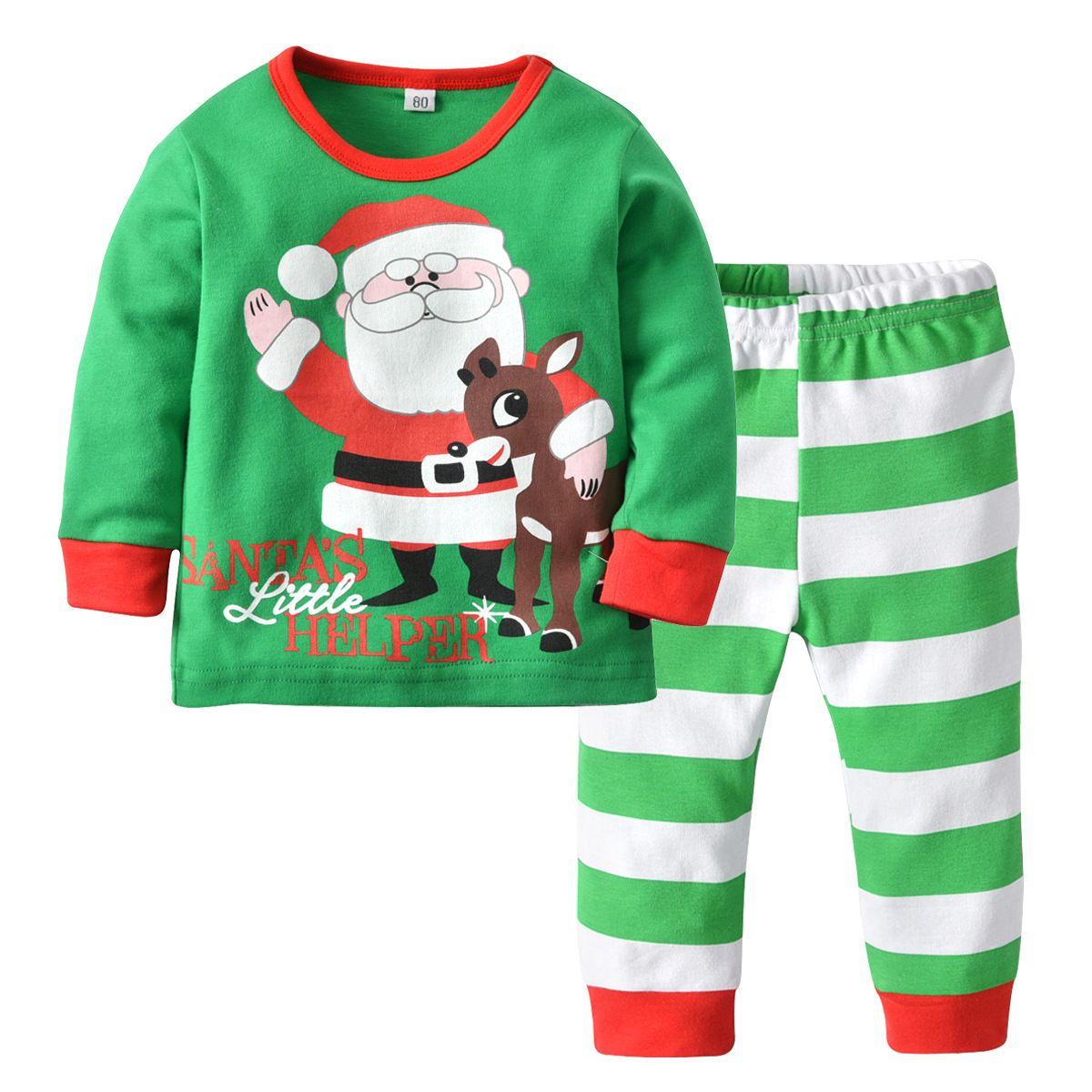 Ropa de hogar para niños, ropa para niños, pijamas con estampado de Papá Noel, pantalones a rayas verdes para niños y niñas, dos juegos