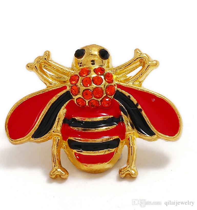 Beautiful 18mm pattern metal bee crystal rhinestone buckle jewelry DIY pendant charm ginger buckle block
