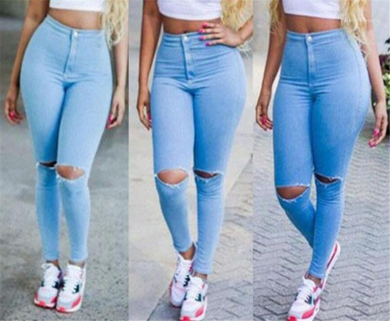 Жан брюки Мода Silm Fit Solid Color Джинсы Повседневный высокой талией Тощий брюки Женщины Hole Карандаш