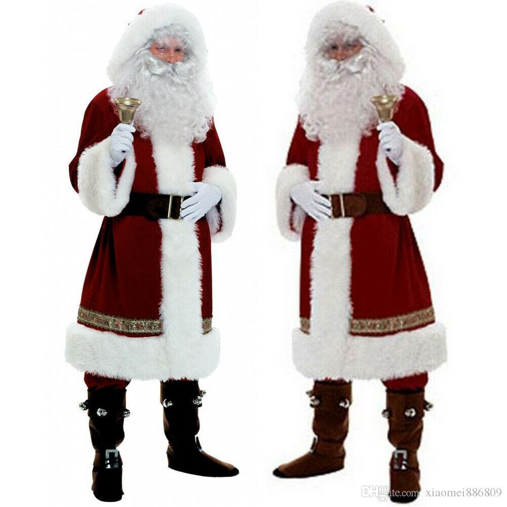 Горячие Рождество Санта-Клаус костюм косплей Санта-Клаус Одежда Костюмированный Рождество Мужчины Женщины Косплей Костюм для взрослых