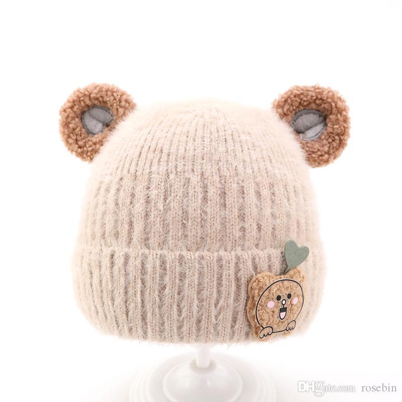 2020 hiver chapeau pour enfants bébé chapeau chaude chapeau de laine chaude 1-2-3-4 ans chapeau tricoté de garçon de bébé mignon chapeau de bébé hiver