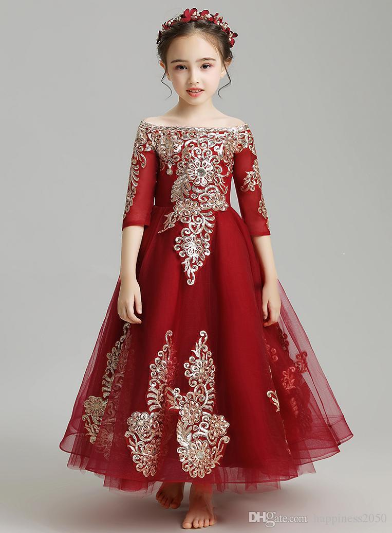 Compre Bonito Vino Tinto Bateau Apliques Tobillo Vestidos Para Niñas Vestidos De Flores Vestidos De Fiesta De Princesa Faldas Para Niños Por Encargo 2