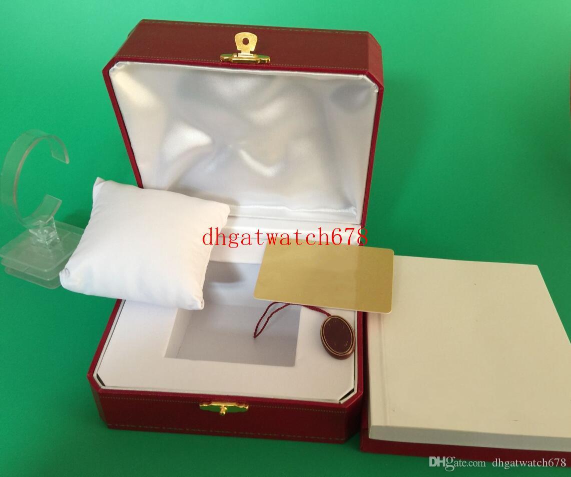 Luxe de haute qualité CA Montre originale Boîte Papiers en cuir d'origine intérieure Boîtes extérieure Montres Femme Homme Wristwatch Place des cas Red Box