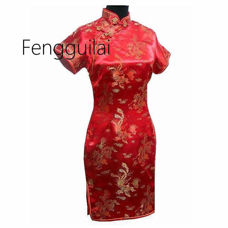 2019 Yeni Vintage Çin tarzı Mini Cheongsam Yeni Varış Bayan Saten Qipao Kırmızı Yaz Seksi Parti Elbise Mujer Vestidos Artı Siz