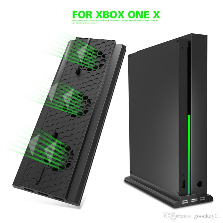 Vertical suporte de acolhimento Cooling Fan Stand Holder mais frias External Ports Fãs 3 USB para Xbox One X Game Console