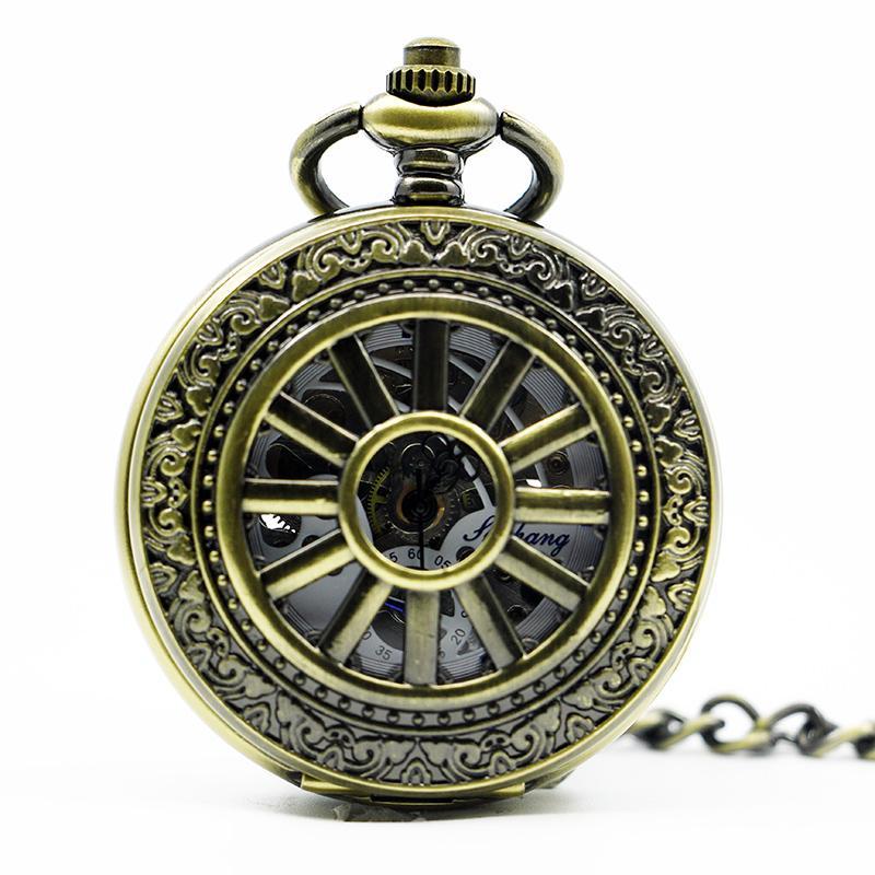 Algarismos arábicos do vintage bronze relógio de bolso mecânico homens mulheres relógio pjx1286