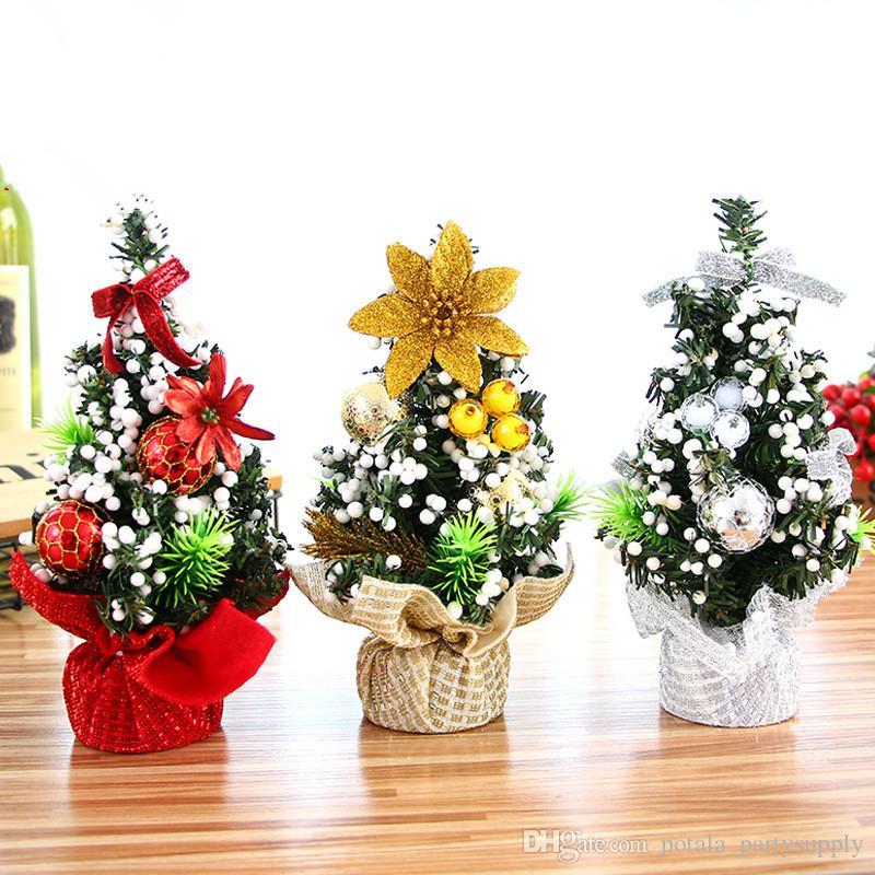 Mini albero di Natale artificiale Con Decor Casa Festival Gioielli Tavolo evento Decor Albero di natale Mall Tatuaggi Desktop Navidad partito