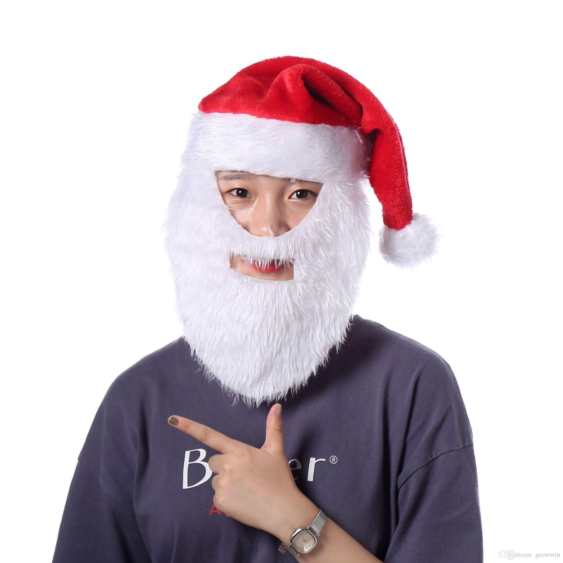 Рождество косплей шляпы бархат мягкий плюш Санта-Клаус борода шляпа маска 2020 теплая зима взрослые дети Рождество крышка рождественские принадлежности D0913