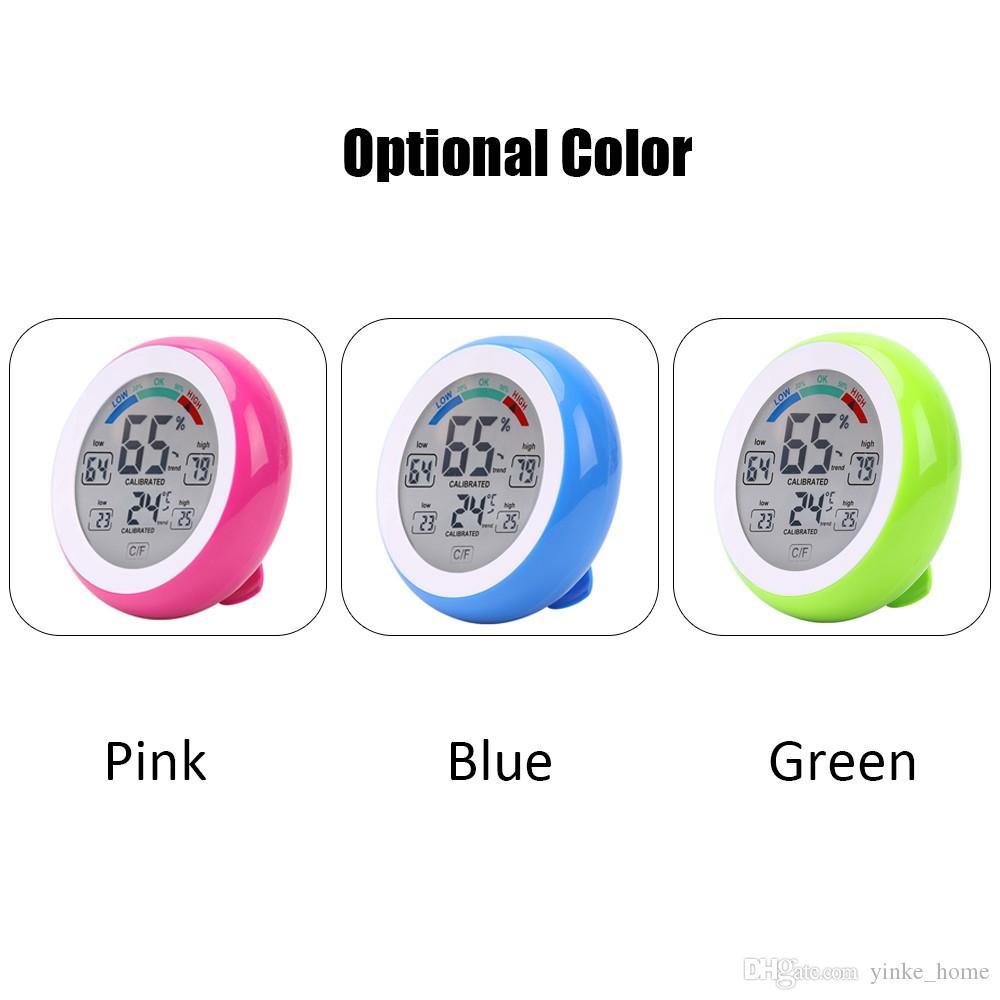 ساعة رقمية درجة الحرارة والرطوبة متر شاشة LCD تعمل باللمس ميزان الحرارة في الأماكن المغلقة الرطوبة