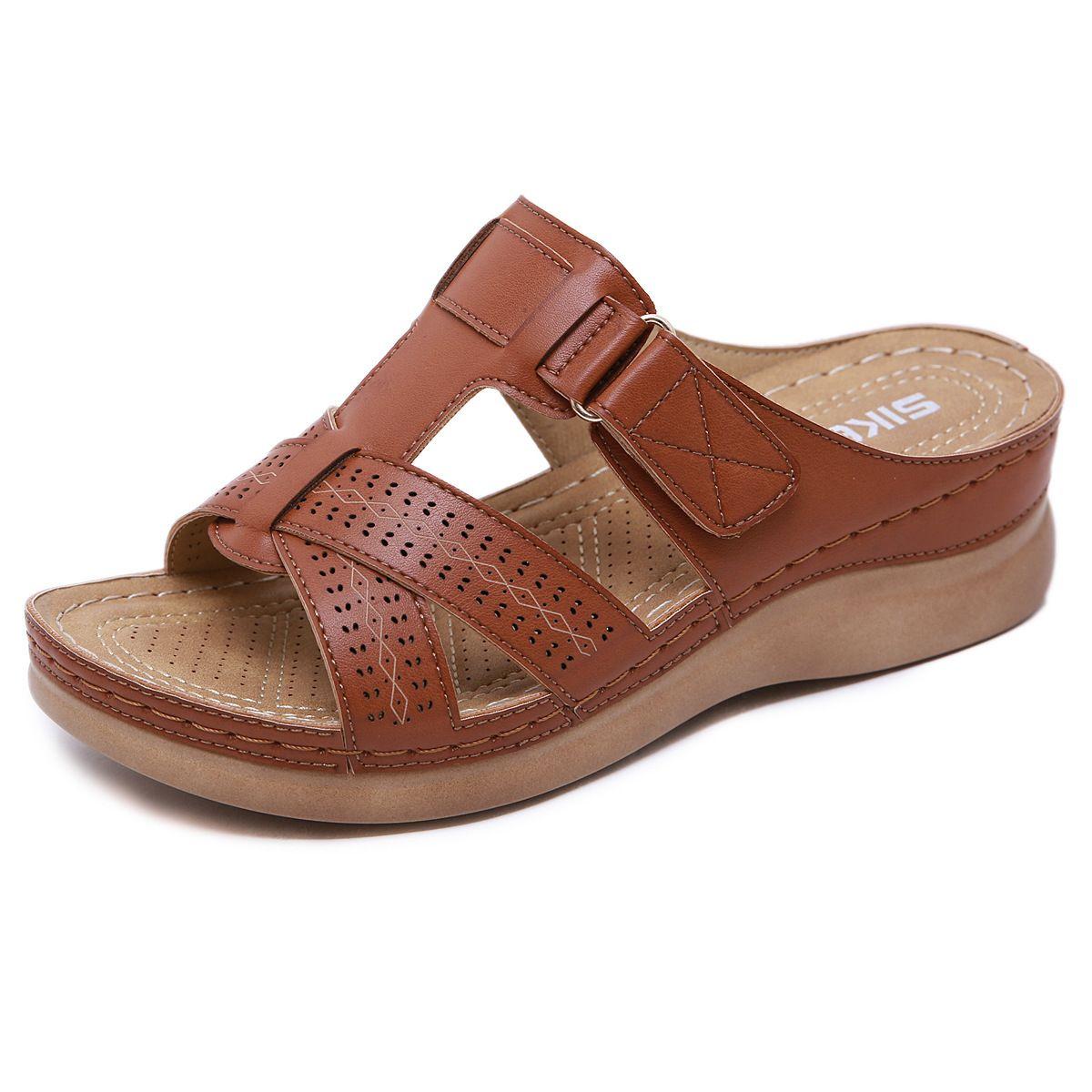 Las mujeres de gran tamaño de la vendimia de la cuña del dedo del pie cómodo zapatillas abierto nuevos zapatos de verano de costura antideslizante Luz sandalias