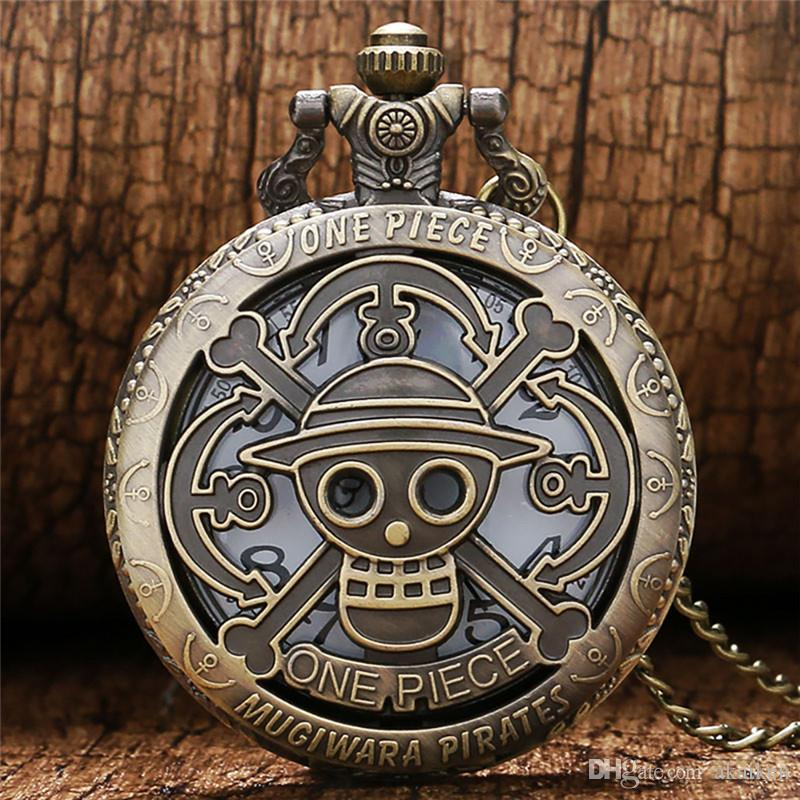 Vintage Antique Hollow Out One Piece Skull Design Quartz Pocket Watch Analog Display Clock for Men Women Necklace Chain Gifts