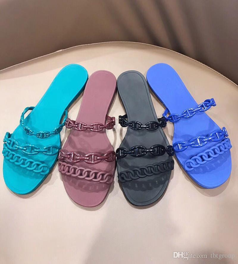 givenchyversacegucciyslfendilv New woman Designer shoes chain design slippers sandals pvc jelly slides Chaine d Ancre High Quality Beach Flip Flops wi