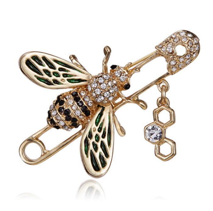 2019 gioielli top designer di spilla ape femminile femminile di strass Spilla perla vestito di marca distintivo di trasporto