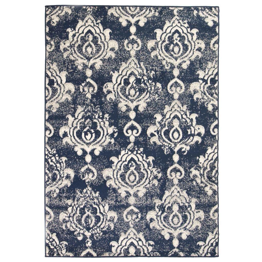 Alfombra contemporánea en color beige / azul de impresión de cachemira 140x200 cm