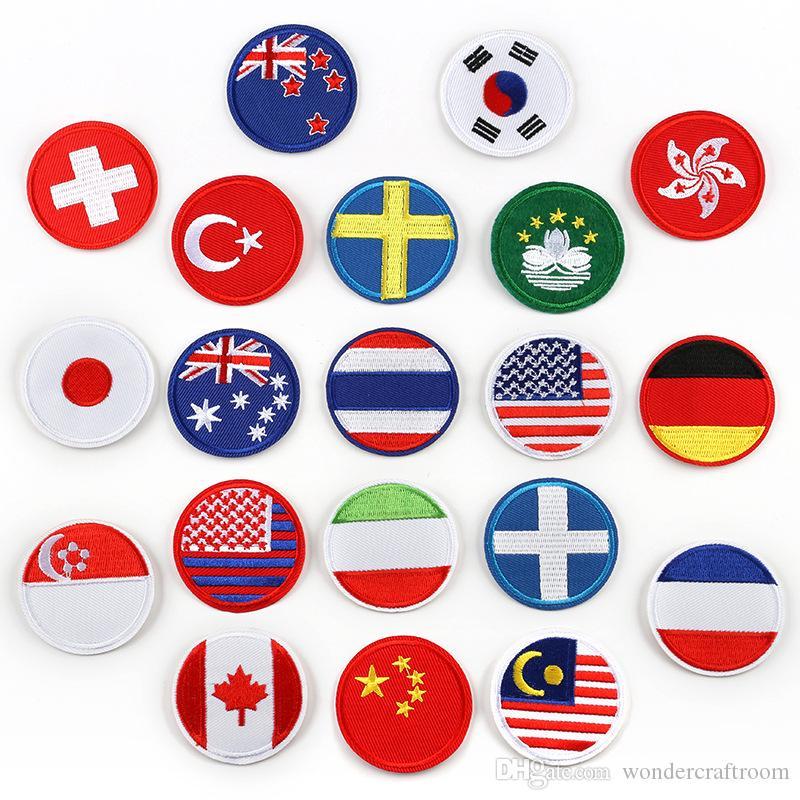Drapeaux Nationaux Ronds Patchs De Broderie Australie USA Allemagne Canada Nouvelle-Zélande Coudre le Fer Sur Appliques Badge BRICOLAGE Patch Pour Enfants Vêtements Sac