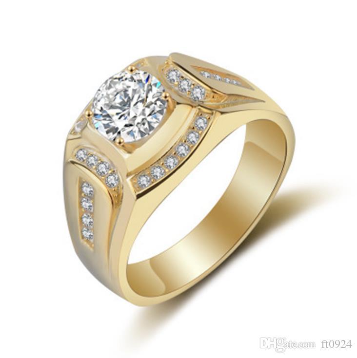 Nova moda hip-hop jóias homens de negócios anel de diamante banhado a 18 K platinum tendência requintado acessórios dos homens anel de diamante