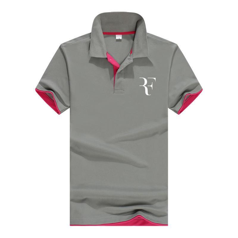 여름 패션 로저 페더러 완벽 한 로고 인쇄 폴로 Rf 새 남성 여성 및 남성을위한 고품질 폴로 셔츠 폴로 셔츠 'Q190428