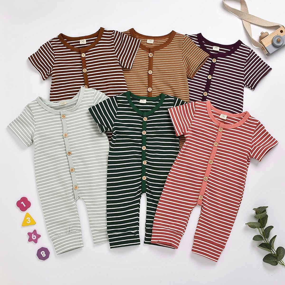 Newborn Kid Baby Boy Girl Clothes Summer Short Sleeve Causal Romper Stripe Cute Cotton Jumpsuit lovely Sunsuit Outfit