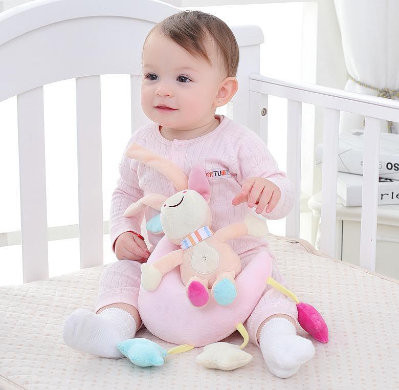 Baby bed crib Soft Animal Monkey Bear Owl Donkey Rattle Hand Bell Plush Stroller early Educational Toy