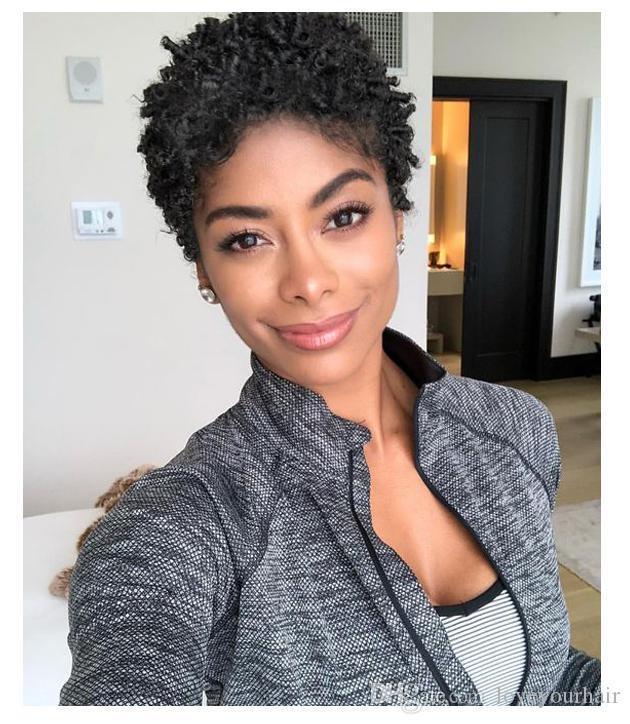 soft brazilian Hair short cut kinky curly wigs Simulation Human Hair black curly wig for woman