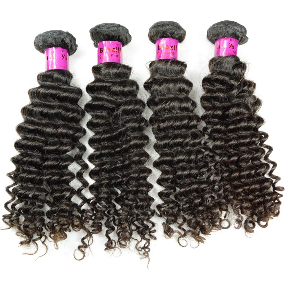 100 % 브라질 곱슬 인간의 머리 확장 직조 4 번들 더블 씨실 레미 헤어 깊은 웨이브 좋은 살롱 미용 공장 저렴한 가격