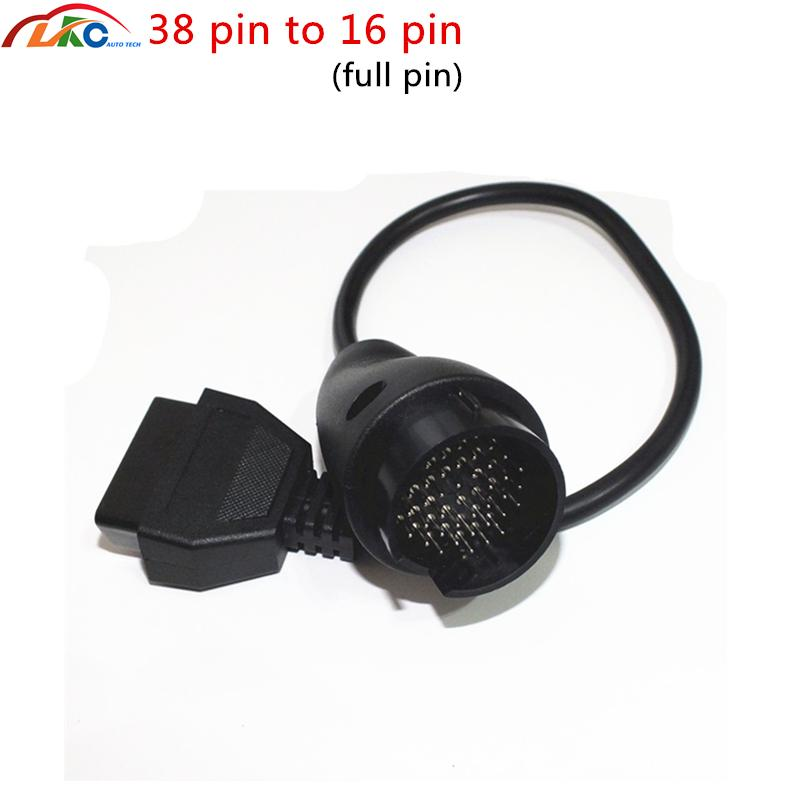 50pcs / lot 38pin B-en-z 38 Pin a 16 Pin OBD OBD2 OBDII de diagnóstico completa Adaptador de cable conector de DHL para M-cer-des