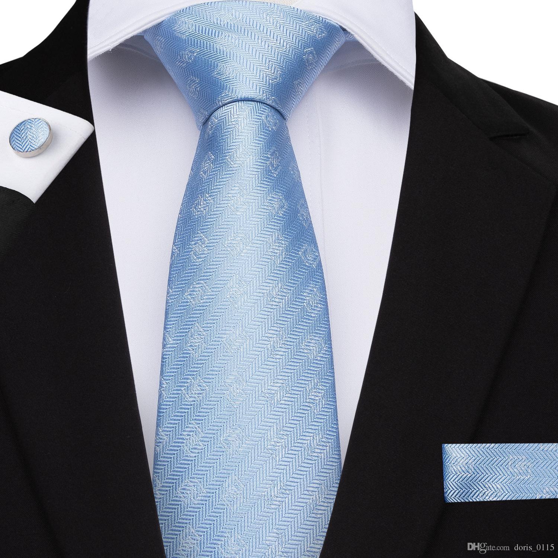 Hallo-Tie Fashion Sky Blue Plaid Krawatte 100% Seide 8cm Krawatte für Männer Einstecktuch und Manschettenknöpfe für Mens Party Hochzeit N-7087