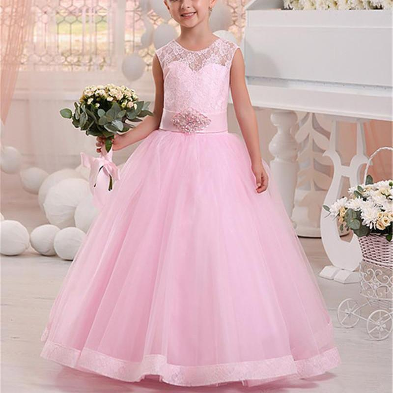 Pink Flower Girls Dresses For Weddings Jewel Neckline Girls Birthday Pageant Dresses With Bow First Kids Communion Gowns