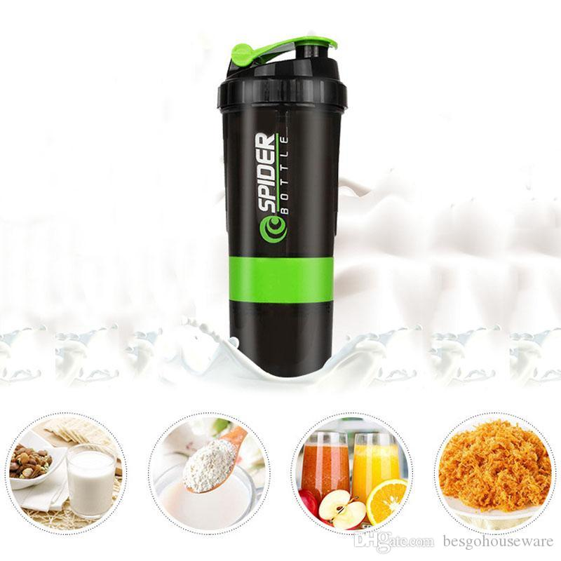 Sports Workout Fitness Gym Training Bottles 500ml Protein Shaker Blender Mixer Cup 3 Layers Shaker Water Bottle Container BH1349 TQQ