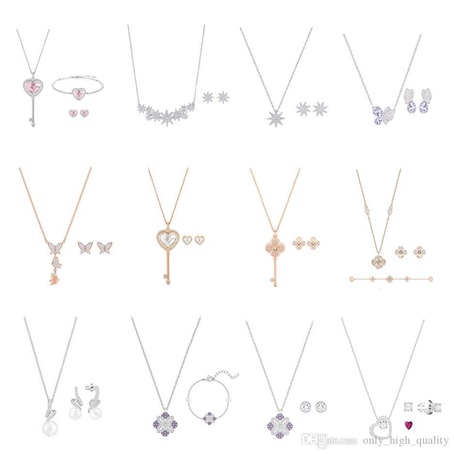 Оригинальный 925 стерлингового серебра новое ожерелье, популярный бренд ожерелье серьги браслет набор, подходит для женщин носить на ужин.