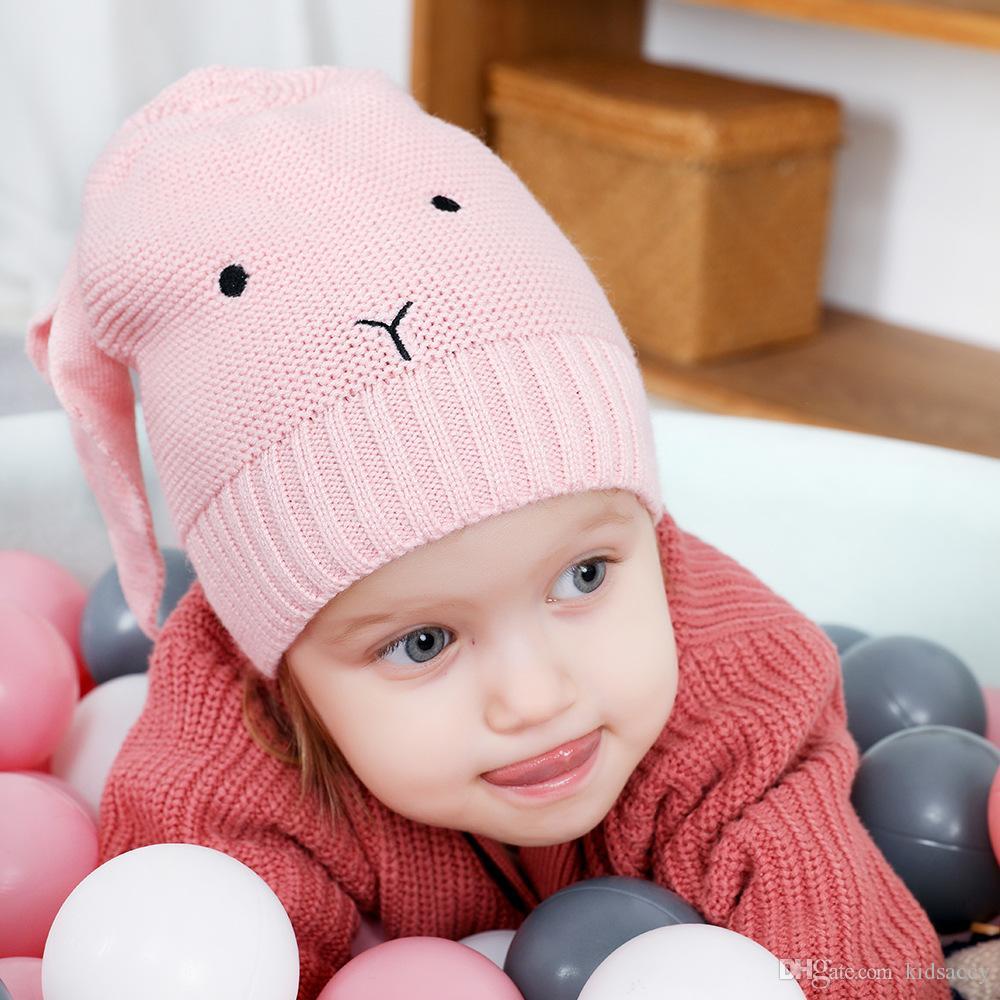 Sonbahar Kış Bebek Karikatür Tavşan Kulakları Hat Çocuk Cap Kız Erkek Beanies Çocuk Şapka A501 Isınma Örme
