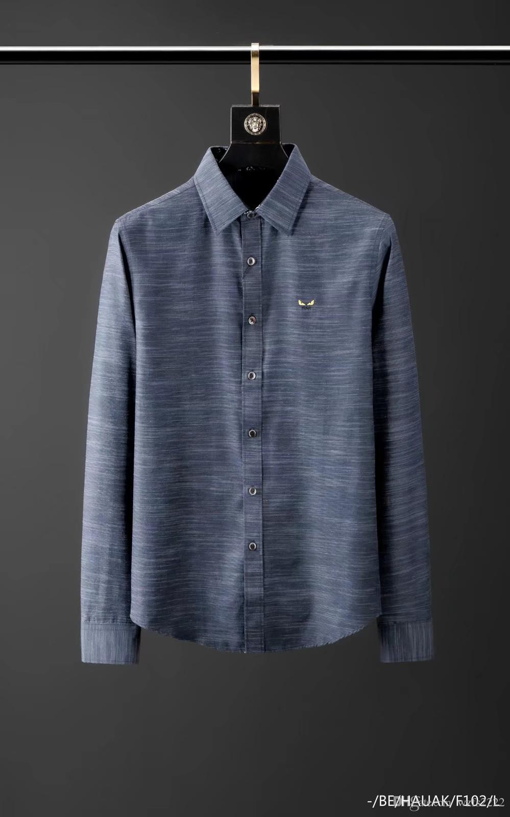 marque Hommes chemises design chemise française Paris marque vêtements 029 hommes de style shirt Hip Hop manches longues en coton de haute qualité 2019 nouvelle arrivée