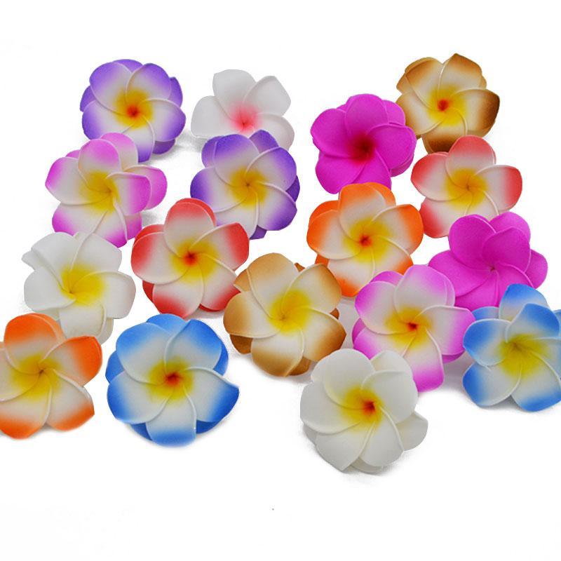 10pcs / lot de Plumeria hawaïenne Pe mousse Frangipani artificielle fleur pour soirée de mariage Décoration de faux oeufs Fleur décor Bouquets