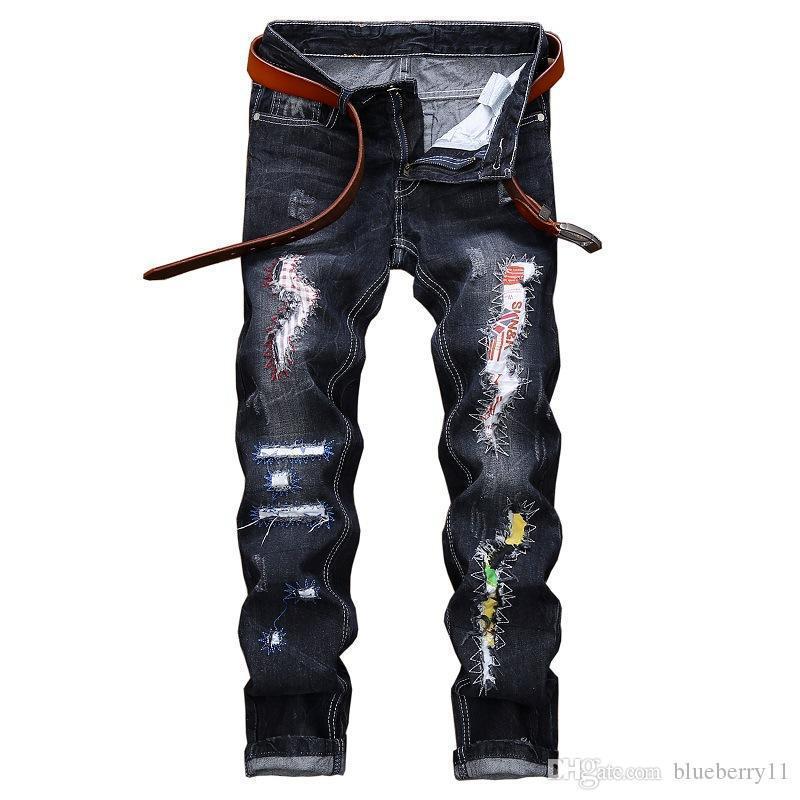 Automne Hiver Mode Hip Hop Streetwear Distressed Pantelons Pantalons Casual droites trou Denim Jeans 28-42