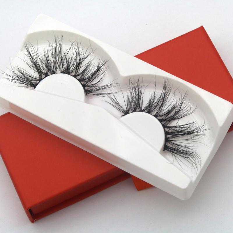 1 Pair 25MM 3D False Eyelashes 100% Mink Hair Fake Lashes Dramtic Thick Long Wispies Fluffy Eyelashes Extension Makeup Tools